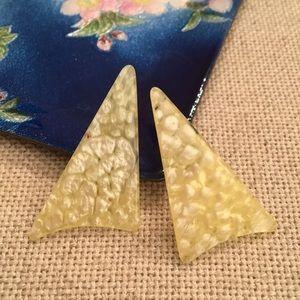 Vintage Retro Boomerang Yellow Earrings